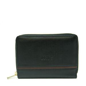 Women Vegan Purse Black Wallet Pouch Zip around Card Pocket Coin Logo Hand-Made