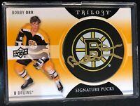2013-14 Bobby Orr Trilogy Signature Pucks Card #SP-BO Legend Bruins Autograph