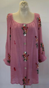 New! 2X Anthropologie Fig and Flower Lined Rayon Tunic Top Embroidered Floral