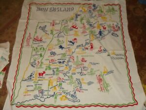 Vintage MAP OF NEW ENGLAND - Tablecloth - Comical, Bright Colors - RARE?