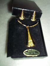 Ladies Necklace and Clip Earring Set, [ Gold with Diamond Dust ]