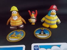 3 Jakks Disney Club Penguin Figures Cards & 2 Discs Moving Rotating Parts VGC