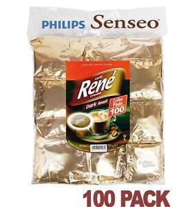 Philips Senseo 100 x Café Rene Dark Roast indvidually Wrapped Coffee Pads