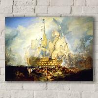 J.M.W. Turner: The Battle of Trafalgar, 21st October 1805. Canvas Art Print