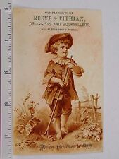 Victorian Christmas Trade Card Reeve & Fithian Druggists & Booksellers F58