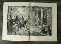 HO3) Holzschnitt 1885-1900 C Rochegrosse  Plünderung Landhaus Hunnen Römer Kunst