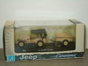 Jeep Willys CJ-2A with Trailer - Cararama 1:43 in Box *43524