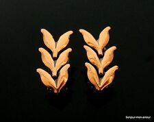 Designer RENOIR Modernist Kupfer Loorbeerblatt Ohrclips Ohrringe,Copper Earrings