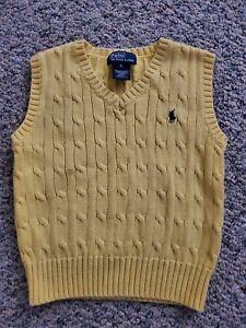 EUC Boys RALPH LAUREN POLO Sweater Vest YELLOW Mint Horse Size 4