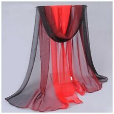 destockage foulard écharpe neuf 100% mousseline de soie dégradé de rouge à noir