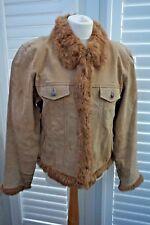 Wilsons Leather Maxima Tan Suede Leather Jacket Faux Fur Trim - Size XL