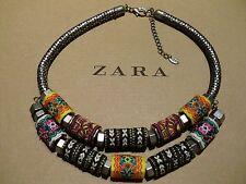 Zara Ethno mega statement Kette necklace boho top Blogger selten rar bunt w. neu