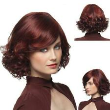 HOT Ladies fashion wig short Curly Wine Red hair Natural Hair Women's full Wigs