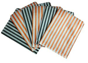 HALLOWEEN TRICK OR TREAT CANDY STRIPE PAPER SWEET FAVOUR BUFFET BAGS 7x9 INCHES