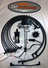 Small Cap CORVETTE Tach Drive BLACK HEI Distributor, 45K COIL + PLUG WIRES UNDER