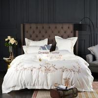 4pcs Bedding Set Embroidery Silky Cotton Duvet Cover Flat Sheet 2 pillowcases