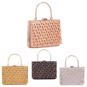 Ladies Top Handle Diamante Box Clutch Bag Wedding Evening Bag Handbag KTL2470