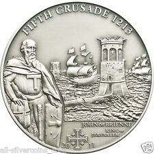 5th.CRUSADE John of Brienne Silver Antique finish Coin 5$ Cook Islands 2011