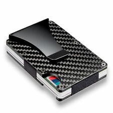 Slim Carbon Fiber Credit Card Holder RFID Blocking Metal Wallet Money Clip Purse