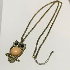 Large Owl Pendant Rhinestones Bead Eye Peach Cabochon Belly Long Gold Tone Chain