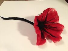 Unique needle felted handmade home decor(or brooch):Big Poppy Flower Lov. - OOAK