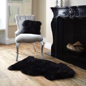 Natural Black Sheepskin Rug - Australian Black Fur Sheep Skin Leather Rug 2 X 3