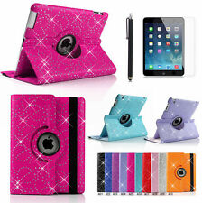 360°swivel Rotate Bling Sparkly Leather Case Cover for Apple iPad 4 3 2 Film Pen Red Stylus Film