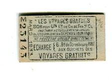 RARE Ticket Voyages gratuits  Chemin de Fer  1933  Publicité CH.BORN Paris