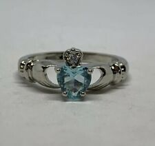 Silver Plated Blue Cubic Zirconia Heart Ring Size 7.5