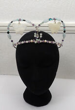 Titania Butterfly Crystal Crown Wedding Tiara Handfasting Real Gemstones & Shell
