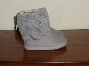 Baby Deer Infant/Toddler Girls Size 6 (18-24m) Gray Suede Boots W/PomPoms NWT