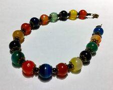 Rainbow Scottish Agate Bracelet Multi Coloured Harlequin Semi Precious Gemstone