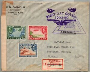 GP GOLDPATH: CURACAO COVER 1942 F.D.C. REGISTERED LETTER AIR MAIL _CV570_P23