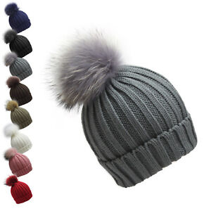 Finecy In - Classic Real Fur Pom Pom Bobble Knitted Ski Hat Beanie Warm Winter