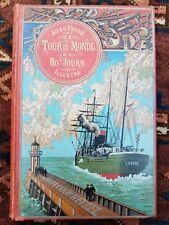 Jules Verne le tour du monde en 80 jours cartonnage au steamer vers 1895