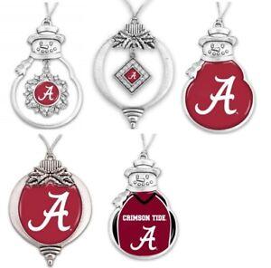 Alabama Crimson Tide Pewter Christmas Ornament - Multiple Styles