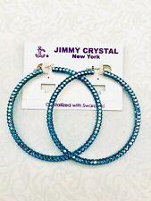 Jimmy Crystal Swarovski Crystal Hoop Earrings Vibrant Blue 2.5� Hoops