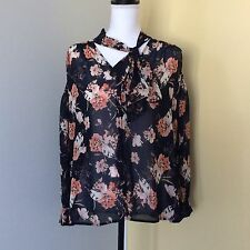 Ro & De Floral Long Sleeve Button Front Tie Flowy Navy Blouse Sz M-Career Office