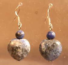 Sterling Silver Blue White Sodalite Heart Earrings Reiki Blessed Crystal Healing