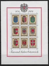 AUSTRIA , 1976 , COATS OF ARMS  , SHEET OF 9  STAMPS  , PERF , MNH