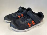 Youth Boys Size 2 Under Armour Black Orange Sneakers Athletic Shoes w/ Fastener