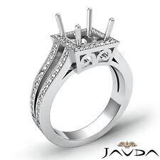Diamond Engagement Princess Ring 0.9Ct VS1-VS2 14k W Gold Semi Mount Split Shank