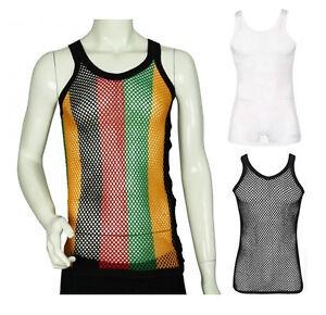 FITTED Rasta Stripe / Black White 100% Cotton String Fishnet Mesh Vest Top