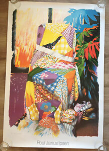 POUL JANUS IPSEN THE BOUND QUILT PRINT FROM 1982 UNFRAMED VINTAGE 32 X 47 POSTER