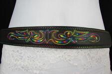 New Men Durango Black Leather Thin Classic Belt Colorful Design Size 30 S M