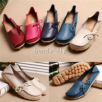 New Women Genuine Leather Comfy Casual Bowed Flat Shoes Moccasin Soft Loafers AU