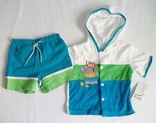 B.T. Kids Boys Swimsuit w/ Terry Beach Robe Flip Flops 12 Months NWT