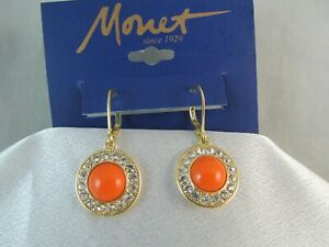 NWT MONET VTG COLLECTION LIMITED EDITION GOLD, CORAL & RHINESTONE DANGLE EARRING