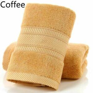 2X Bamboo Fiber Hand Towels Solid Absorbent Bathroom Washcloth Shower Towel Home