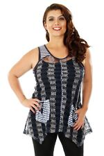 Aster by Firmiana Open Knit Bohemian Blue Sleeveless Top Size 3X